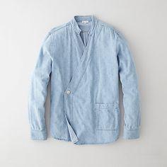 Steve Alan Karate Shirt Jacket (Indigo All-over geometric print) Kimono Fashion, Denim Fashion, Mode Kimono, Estilo Jeans, Chinese Clothing, Mode Inspiration, Pyjamas, Shirt Jacket, Fashion Details