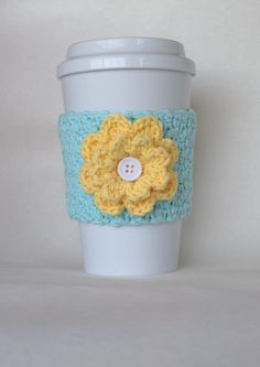 Crochet Flower Coffee Cup Cozy Robin's Egg by TheEnchantedLadybug, $11.00