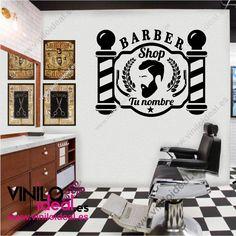 Vinilo decorativo barber shop, pegatinas para barberías, decoración de paredes, autoadhesivos, decora tu negocio