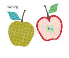 Apple applique template - pdf applique pattern - vintage inspired retro fruit…