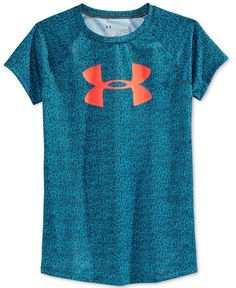 Lightweight, stretchy and designed with a super-fun print, this Under Armour logo T-shirt is a sports-day essential.   Polyester   Machine washable   Imported   V-neck    Short sleeves   Logo at chest