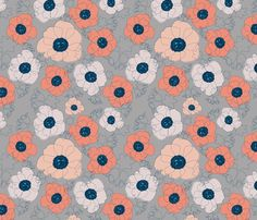 poppy spin (peach on gray) fabric by anna_lisa_brown on Spoonflower - custom fabric