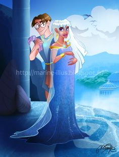 Atlantis: The Lost Empire Fan Art: Milo and Kida Princess Kida, Disney Princess Art, Disney Fan Art, Disney Love, Disney Magic, Disney Stuff, Disney And Dreamworks, Disney Pixar, Disney Characters
