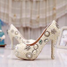 chaussures de mariée délicates escarpin à talon aiguille chaussure femme pas cher incrustées perles et strass