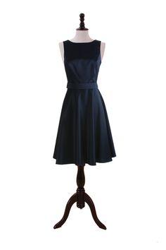 Bateau Satin Dress With A-Line Silhouette