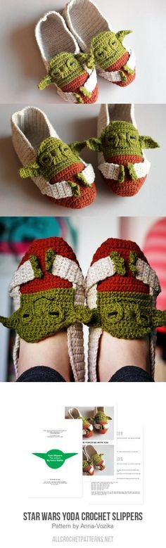 Star Wars Yoda Crochet Slippers crochet pattern