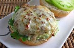 Prudence Pennywise: Salsa Verde Turkey Burgers with Creamy Avocado Sauce and Green Tomatoes