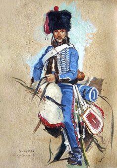 """""""1er hussard, Compagnie d'élite, 1er Empire"""", Eugène Leliepvre"""