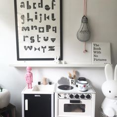Play kitchen, black and white kids room, Miffy lamp, pink Clonette doll