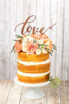 """I kinda really like the """"naked cake"""" look! Enhance your naked cake with an adorable wedding cake topper. [via Etsy] Birch Wedding Cakes, Rustic Wedding Cake Toppers, Rustic Cake, Wedding Desserts, Wedding Rustic, Cake Wedding, Wedding Ideas, Rustic Wood, Wedding Decorations"""