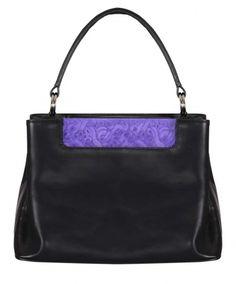 Caterina, czarna torebka ze skóry, fioletowa wstawka, design, trendy, wielofunkcyjna, praktyczna, pojemna, https://sklep.caterina.pl