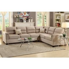 Shop for Altamura 2 Pieces Sectional Sofa Upholstered in Sand Polyfiber. Get free delivery at Overstock.com - Your Online Furniture Shop! Get 5% in rewards with Club O!