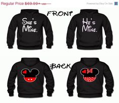 On sale Disney Matching Couples Hoodies Mickey and Minnie on the back He's mine she's mine on the front. Matching Hoodies For Couples, Matching Outfits, Matching Shirts, Disney Sweaters, Disney Shirts, Couple Outfits, Disney Outfits, Disney Love, Disney Stuff