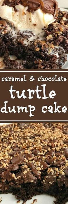 Carmel & Chocolate Turtle Dump Cake: 1 small box oz) Jell-O Chocolate Instant Pudding cups whole cup caramel sauce, box oz) chocolate fudge cake mix, DO NOT bag dark chocolate cup chopped pecans Dump Cake Recipes, Dessert Recipes, Fudge Recipes, Candy Recipes, Food Cakes, Cupcake Cakes, Bundt Cakes, 13 Desserts, Meringue Desserts
