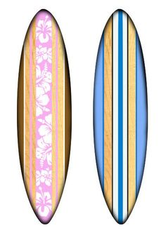 5 Foot Light Pink Tropical and 5 Foot Blue Classic wooden surf boards custom made to hang in M & C's beach house room!