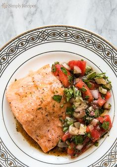 Salmon Provencal ~ Baked salmon provencal recipe with a sauce of fresh tomatoes, fresh chopped herbs, a few shallots, lemon juice, balsamic and olive oil. ~ SimplyRecipes.com