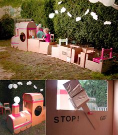 All Aboard the Party Train - cardboard box train and cloud garland… a cute little idea for a birthday party -  love it  :)