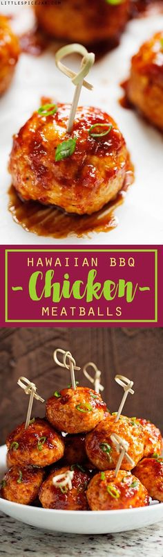 You Have Meals Poisoning More Normally Than You're Thinking That Hawaiian Bbq Chicken Meatballs - Easy To Make Chicken Meatballs Covered In Homemade Hawaiian Bbq Sauce Chicken Meatball Recipes, Chicken Meatballs, Bbq Chicken, Eggplant Meatballs, Ground Chicken, Chicken Balls, Jelly Meatballs, Turkey Meatballs, Tapas