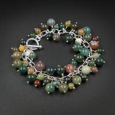 Indian agate natural gemstone charm bracelet - Gemini jewelry £17.00