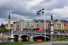 Swedish flag near Djurgardsbron in Stockholm