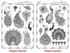 Peacock Parade/Tangled Peacock Rubber stamps Multi-buy - A4
