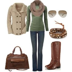 Green and beige Fall Outfit - Polyvore - Cute, but what's with all the scarves??