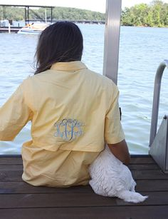Monogrammed Short Sleeve Goldenrod Yellow Fishing Shirt | Marley Lilly