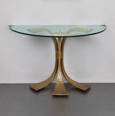 Luciano Frigerio; Brass and Glass Console, 1968.