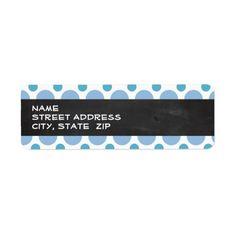 Baby Blue Polka Dots; Vintage Chalkboard Custom Return Address Labels