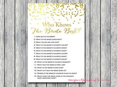 Who knows the bride best how well do you know by MagicalPrintable
