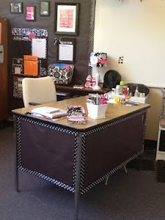 Classroom Couture... Totally borrowing the idea for the desk. Cover with black paper, use fun duct tape (something rockin!) around the border! Finish with my name in the center!