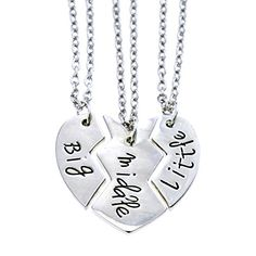 O.RIYA Big Sis Middle Sis Little Sis Jewelry Necklace Set 3 Pieces, Best Friend Necklaces Girls Jewelry , Bff Necklace Little Girls Kids Jewelry.