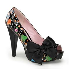 Pinup Couture BETTIE-13 Day of the Dead Peep Toe Pumps - Pinup Couture Shoes - SinisterSoles.com