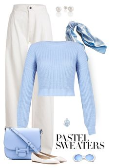 """""""Pastel Sweater"""" by patricia-dimmick ❤ liked on Polyvore featuring Maison Margiela, Asprey, Tod's, Jimmy Choo, paleblue and pastelsweaters"""