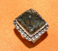 FREE SHIPPING MOSS AGATE UNIQUE 925 STERLING SILVER RING S.8.75'' TA10-75 #Handmade