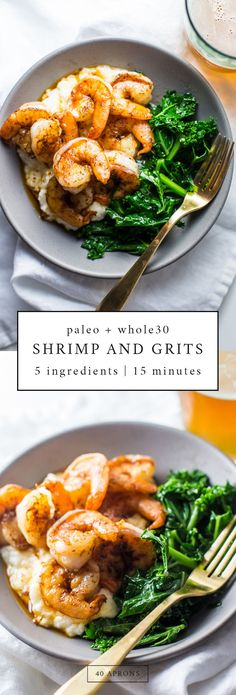 This paleo shrimp and grits recipe is so delicious, takes only 15 minutes, and uses only 5 ingredients. This shrimp and grits recipe is a perfect dinner recipe. You will freak out over how good it is. not to mention easy and quick! paleo diet eating out Whole 30 Diet, Paleo Whole 30, Whole 30 Meals, Yummy Recipes, Whole Food Recipes, Healthy Recipes, Quick Recipes, Auto Immune Paleo Recipes, Meatless Whole 30 Recipes