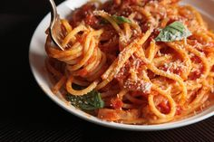 Delicious and simple, a perfect go-to dish with tomatoes and guanciale.