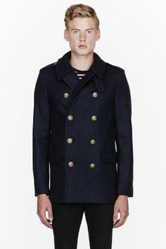 Saint Laurent Navy Blue Pea Coat for men | SSENSE