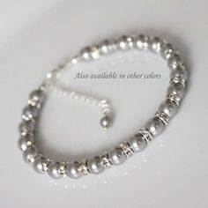 Mother of the Groom Gift, Mother of the Bride Gift, Swarovski Light Gray Pearl Bridesmaid Bracelet, Swarovski Light Grey Pearl Bracelet