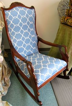 Fabric idea for our goose neck rocker. Metal Rocking Chair, Upholstered Rocking Chairs, Upholstery Fabric For Chairs, Chair Fabric, Furniture Fix, Furniture Makeover, Painted Furniture, Repurposed Furniture, Antique Furniture