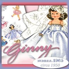 GINNY Doll vintage clothes e-pattern:  5 OUTFITS! Wedding Dress, Gown, Fur Coat & Muff, TUTU, Circle (Poodle) Skirt, & PJS!  DOWNLOAD NOW at eVINTAGEpatterns on etsy  just $3.99