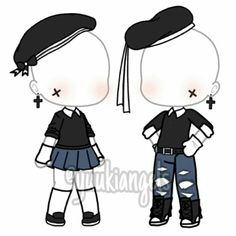 Twin Outfits, Couple Outfits, Club Outfits, Girl Outfits, Cute Anime Character, Character Outfits, Cute Anime Chibi, Clothing Sketches, Drawing Clothes