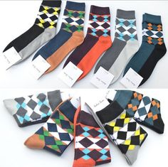 A.E.SHON Men's Rhombus Socks Soft Contrast Socks Black, Navy, Dark Purple, Grey, Grey Blue