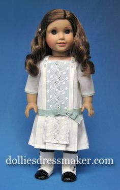 American Girl Doll ~ Rebecca. Frock with vintage embroidered lace overlay on front panel. http://www.dolliesdressmaker.com/product-category/american-girl-doll-clothes/rebecca/