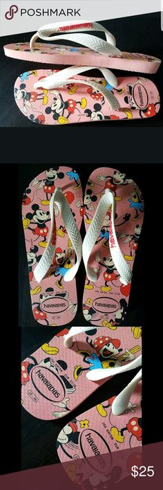HAVAIANAS WOMEN'S THONG MICKEY MOUSE FLIP FLOPS HAVAIANAS DISNEY FLIP FLOPS MICKEY MOUSE PRINT LIGHT PINK COLOR GREAT CONDITION Havaianas Shoes Sandals