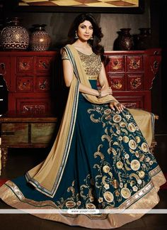 Shilpa Shetty Teal Anarkali Salwar Suit Model  YOS3652