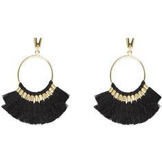 Vince Camuto Multi-Tassel Hoop Earrings (1,740 DOP) ❤ liked on Polyvore featuring jewelry, earrings, tassel earrings, tribal jewelry, tribal hoop earrings, post earrings and tassle earrings