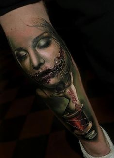 Horror Leg Tattoo