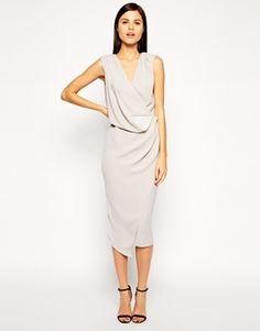 ASOS Wrap Drape Midi Dress - Gray