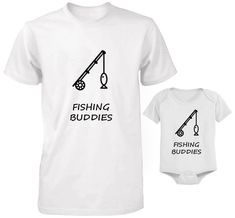 Father and son Fishing buddies cute funny dad and baby matching t-shirts set for father and baby shirt and baby suit west Father And Baby, Baby Fish, Dad Son, Baby Suit, Dad Humor, Cool Socks, Fishing Shirts, Sons, Shirt Ideas